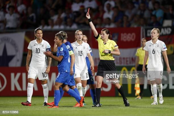 Dzsenifer Marozsan of Germany women Manuela Giugliano of Italy Women Melania Gabbiadini of Italy Women Sara Dabritz of Germany women referee Kateryna...