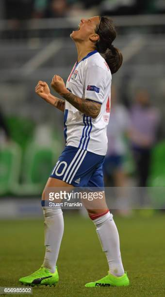Dzsenifer Marozsan of Lyon celebrates scoring her goal during the UEFA Women's Champions League Quater Final first leg match between VfL Wolfsburg...