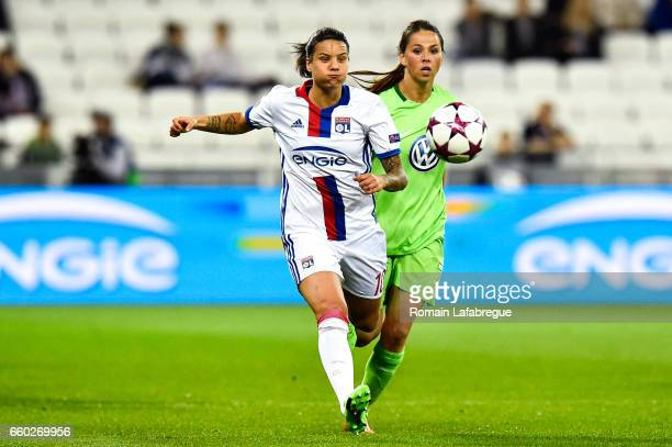Dzsenifer Marozsan of Lyon Sara Bjork Gunnarsdottir of Wolfsburg during the Women's Champions League match between Lyon and Wolfsburg at Gerland...