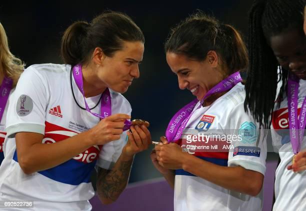 Dzsenifer Marozsan of Olympique Lyonnais and Amel Majri of Olympique Lyonnais during the UEFA Women's Champions League Final match between Lyon and...