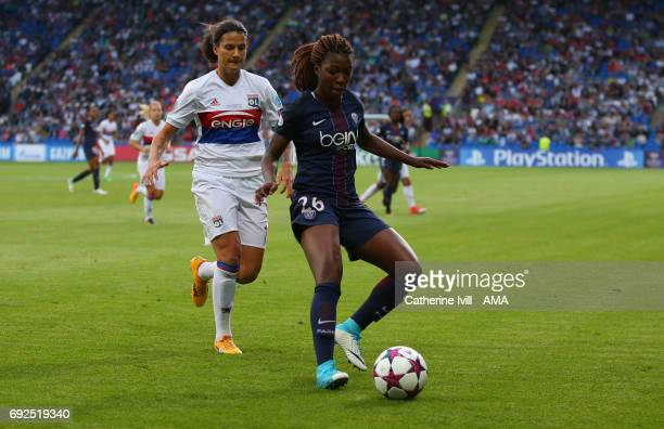 Dzsenifer Marozsan of Olympique Lyonnais and Grace Geyoro of PSG during the UEFA Women's Champions League Final match between Lyon and Paris Saint...