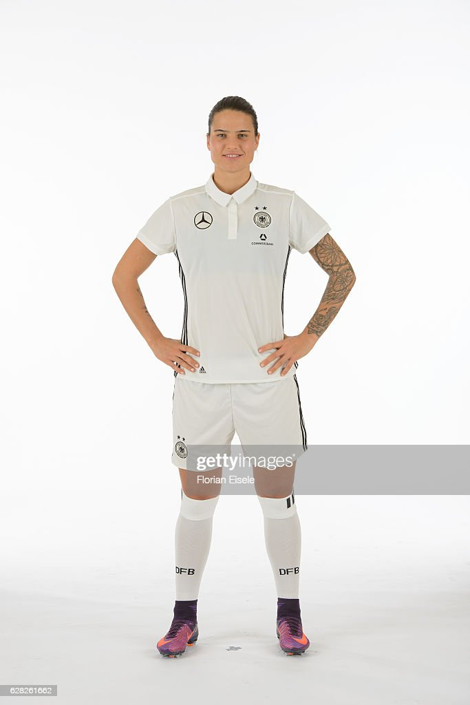 Dzsenifer Marozsan poses in the new home jersey of the German women's national soccer team on November 25, 2016 in Chemnitz, Germany.