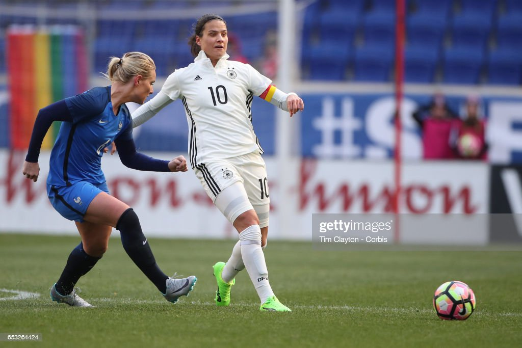 Dzsenifer Marozsán #10 of Germany in action during the France Vs Germany SheBelieves Cup International match at Red Bull Arena on March 4, 2017 in Harrison, New Jersey.