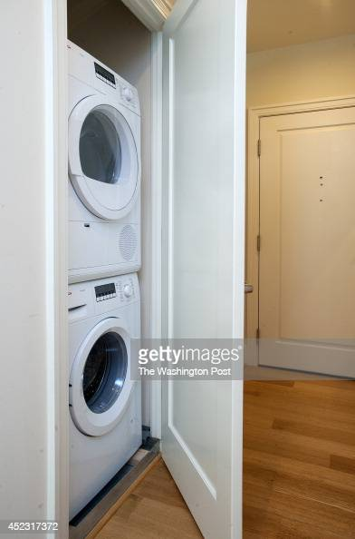 of the apartments has a stackable washer dryer in a closet in the unit