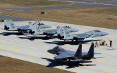 Eagle jet fighters prepares are pictured on the tarmac at air force base during the Lithuanian NATO air force exercise at the air force base near...