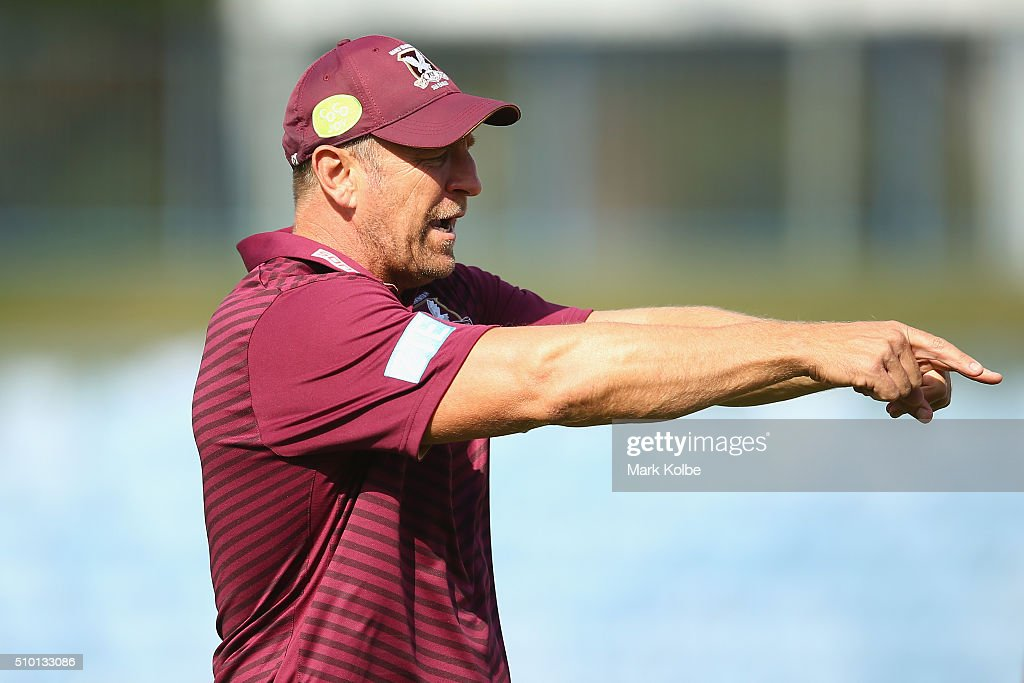 Eagles assistant coach John Cartwright gives instructions during warm-up ahead of the NRL Trial match between the Cronulla Sharks and the Manly Sea Eagles at Remondis Stadium on February 14, 2016 in Sydney, Australia.