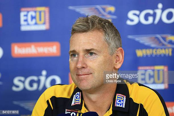 Eagles coach Adam Simpson speaks to media during the round 13 AFL match between the Brisbane Lions and the West Coast Eagles at The Gabba on June 18...