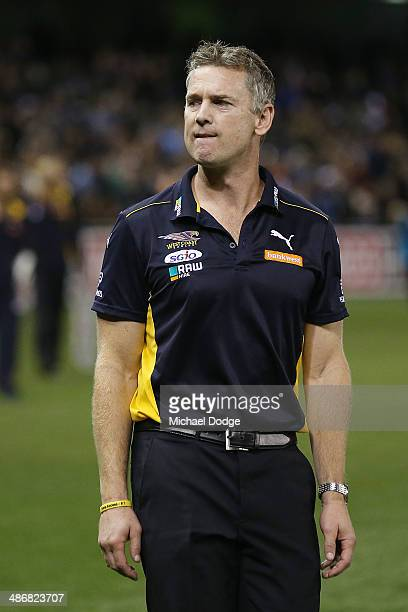 Eagles coach Adam Simpson walk off after their defeat during the round six AFL match between the Carlton Blues and the West Coast Eagles at Etihad...