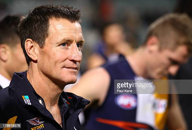 Eagles coach John Worsfold looks on after the round 23 AFL match between the West Coast Eagles and the Adelaide Crows at Patersons Stadium on August...