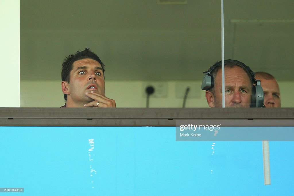 Eagles coach <a gi-track='captionPersonalityLinkClicked' href=/galleries/search?phrase=Trent+Barrett&family=editorial&specificpeople=213750 ng-click='$event.stopPropagation()'>Trent Barrett</a> and assistant coach John Cartwright watch on from the coaches box during the NRL Trial match between the Cronulla Sharks and the Manly Sea Eagles at Remondis Stadium on February 14, 2016 in Sydney, Australia.