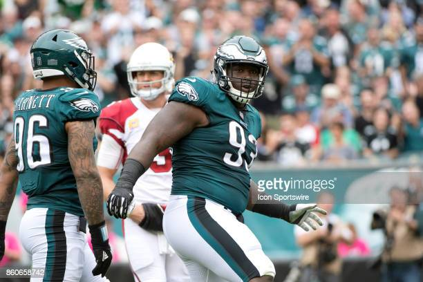 Eagles DT Tim Jernigan celebrates a tackle in the first half during the game between the Arizona Cardinals and Philadelphia Eagles on October 08 2017...