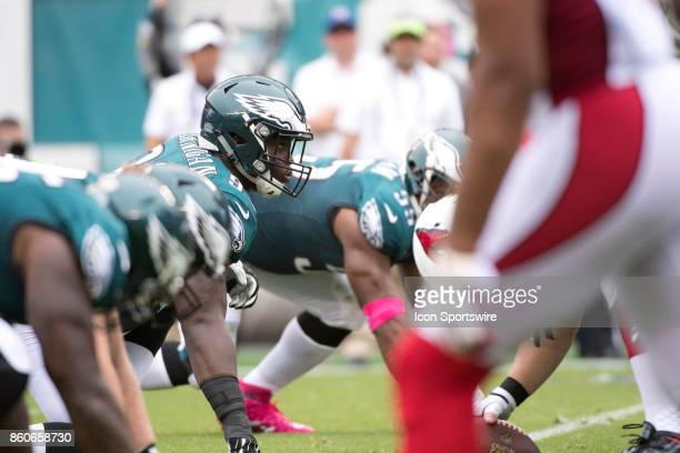 Eagles DT Tim Jernigan looks up before a play in the first half during the game between the Arizona Cardinals and Philadelphia Eagles on October 08...