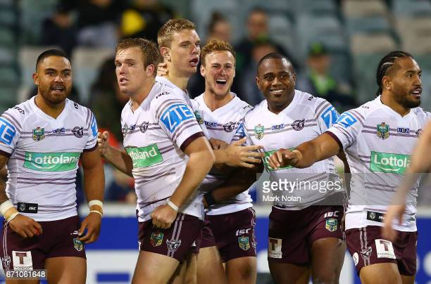 Eagles players celebrate a try by Tom Trbojevic during the round eight NRL match between the Canberra Raiders and the Manly Sea Eagles at GIO Stadium...