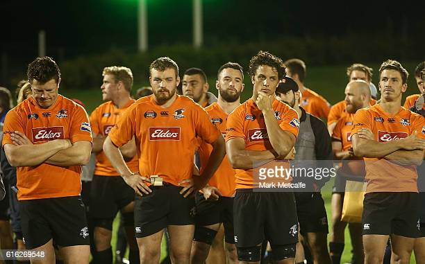 Eagles players look dejected after defeat in the 2016 NRC Grand Final match between the NSW Country Eagles and Perth Spirit at Scully Park on October...