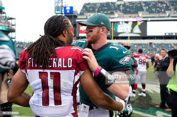 Eagles QB Carson Wentz and Cardinals WR Larry Fitzgerald talk after the game between the Arizona Cardinals and Philadelphia Eagles on October 08 2017...