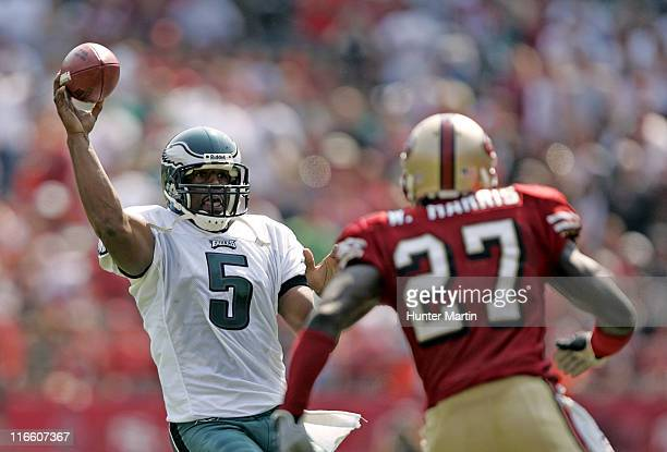 Eagles quarterback Donovan McNabb throws a pass during first quarter action of the Philadelphia Eagles versus San Francisco 49ers at Monster Park in...