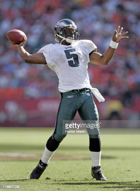 Eagles quarterback Donovan McNabb throws a pass versus the San Francisco 49ers at Monster Park in San Francisco California on September 24th 2006 The...