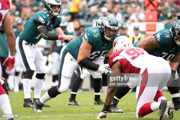 Eagles T Lane Johnson reads the defense before a snap in the first half during the game between the Arizona Cardinals and Philadelphia Eagles on...