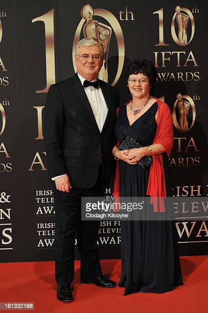 Eamon Gilmore and Carol Hanney attends the Irish Film and Television Awards at Convention Centre Dublin on February 9 2013 in Dublin Ireland