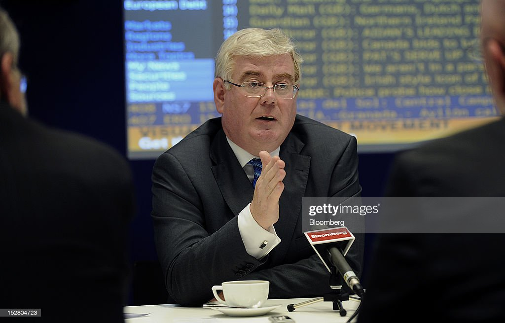 <a gi-track='captionPersonalityLinkClicked' href=/galleries/search?phrase=Eamon+Gilmore&family=editorial&specificpeople=7484923 ng-click='$event.stopPropagation()'>Eamon Gilmore</a>, deputy prime minister of Ireland, speaks during an interview in New York, U.S., on Wednesday, Sept. 26, 2012. Irish bonds slumped yesterday after finance chiefs from Germany, the Netherlands and Finland indicated a retreat from a June agreement to allow the euro-area bailout fund to recapitalize banks. Photographer: Peter Foley/Bloomberg via Getty Images