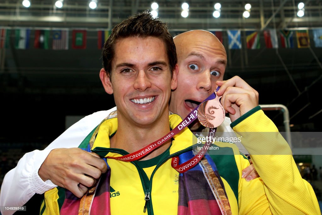 <a gi-track='captionPersonalityLinkClicked' href=/galleries/search?phrase=Eamon+Sullivan&family=editorial&specificpeople=769294 ng-click='$event.stopPropagation()'>Eamon Sullivan</a> of Australia (Bronze) and Brent Hayden of Canada (Gold) pose during the medal ceremony for the Men's 100m Freestyle Final at the Dr. S.P. Mukherjee Aquatics Complex during day four of the Delhi 2010 Commonwealth Games on October 7, 2010 in Delhi, India.