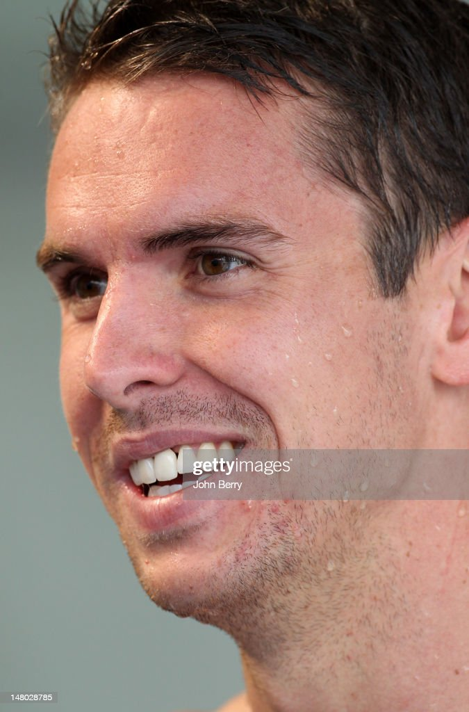 <a gi-track='captionPersonalityLinkClicked' href=/galleries/search?phrase=Eamon+Sullivan&family=editorial&specificpeople=769294 ng-click='$event.stopPropagation()'>Eamon Sullivan</a> of Australia smiles after the men's 50m freestyle series at the 2012 Open EDF de Natation, an international swimming meeting in preparation for the London 2012 Olympics held at the Racing Club de France on July 7, 2012 in Paris, France.