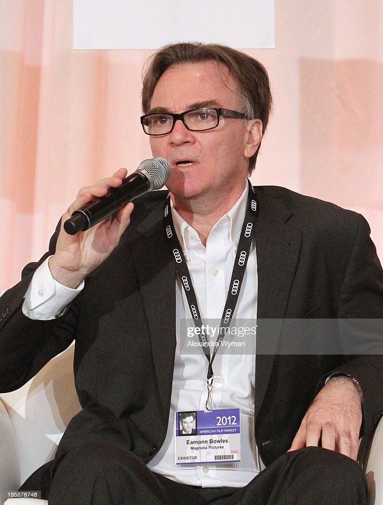 Eamonn Bowles, President, Magnolia Pictures, speaks at the VOD Release Strategies: Finding Your Film's Digital Clique panel during American Film Market - Day 6 at the Fairmont Hotel on November 5, 2012 in Santa Monica, California.