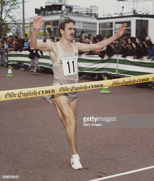 Eamonn Martin of the Basildon Athletics Club wins the10km City Centre Challenge on 26th December 1985 in Cardiff United Kingdom