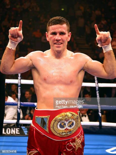 Eamonn O'Kane celebrates beating Kerry Hope during their vacant middleweight title fight at the Odyssey Arena Belfast to win the vacant Irish...