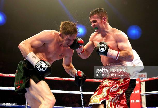 Eamonn O'Kane in action against Kerry Hope during their vacant middleweight title fight at the Odyssey Arena Belfast to win the vacant Irish...