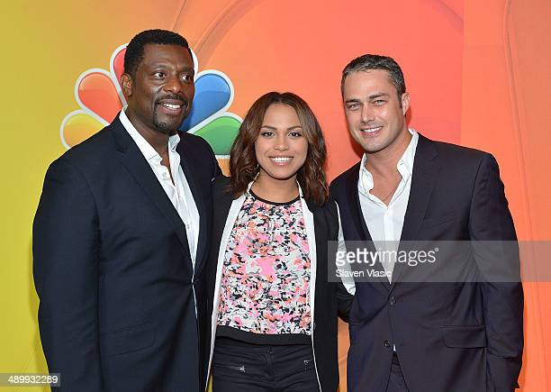 Eamonn Walker Monica Raymund and Taylor Kinney attend the 2014 NBC Upfront Presentation at The Jacob K Javits Convention Center on May 12 2014 in New...