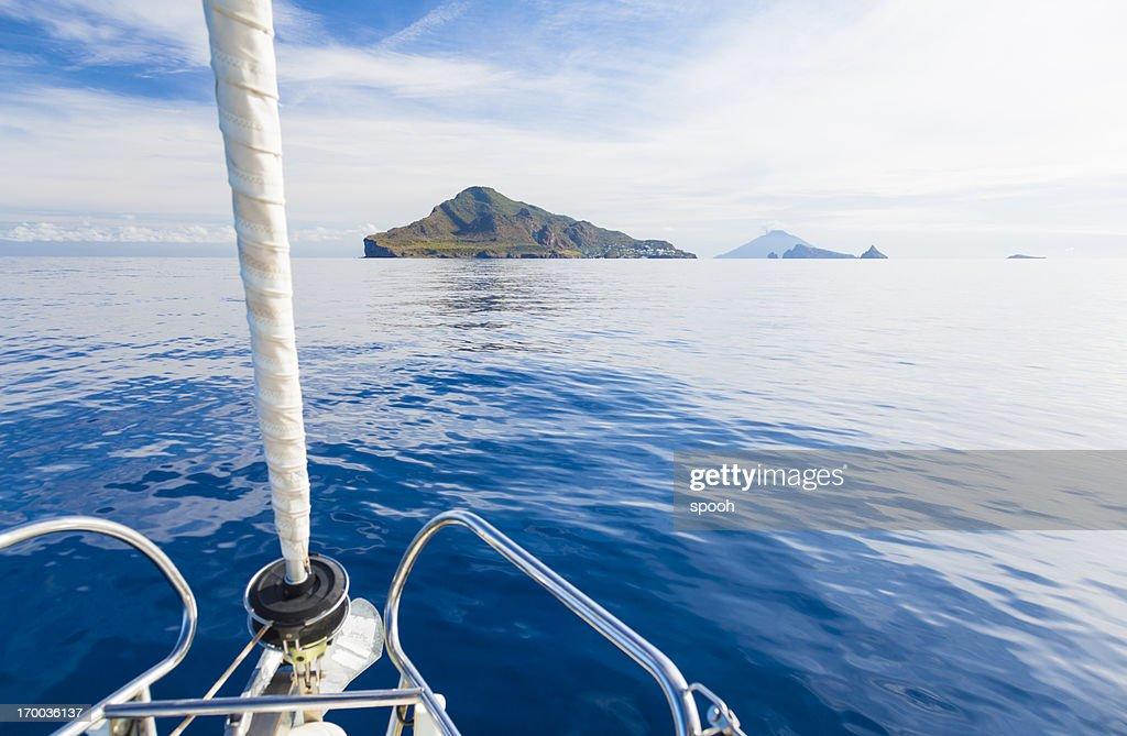 Eaolian Islands ahead of yacht