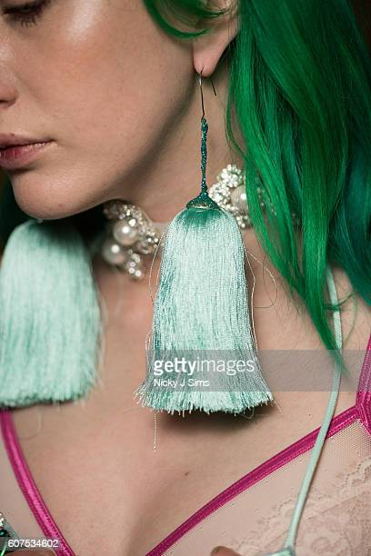 Earings are seen backstage prior to the Angel Chen show at Fashion Scout during London Fashion Week Spring/Summer collections 2017 on September 16...