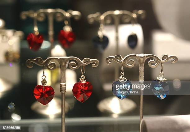 Earings displayed in a Store display case