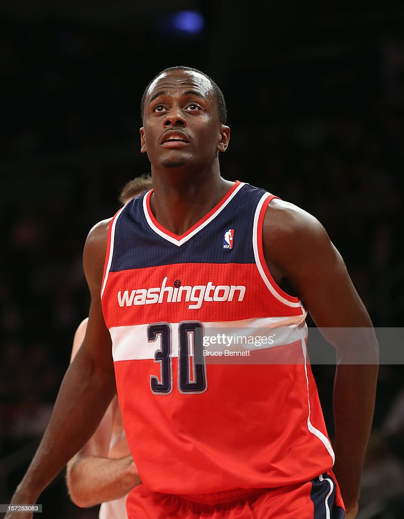 Earl Barron #30 of the Washington Wizards waits for play to begin against the New York Knicks at Madison Square Garden on November 30, 2012 in New York City.