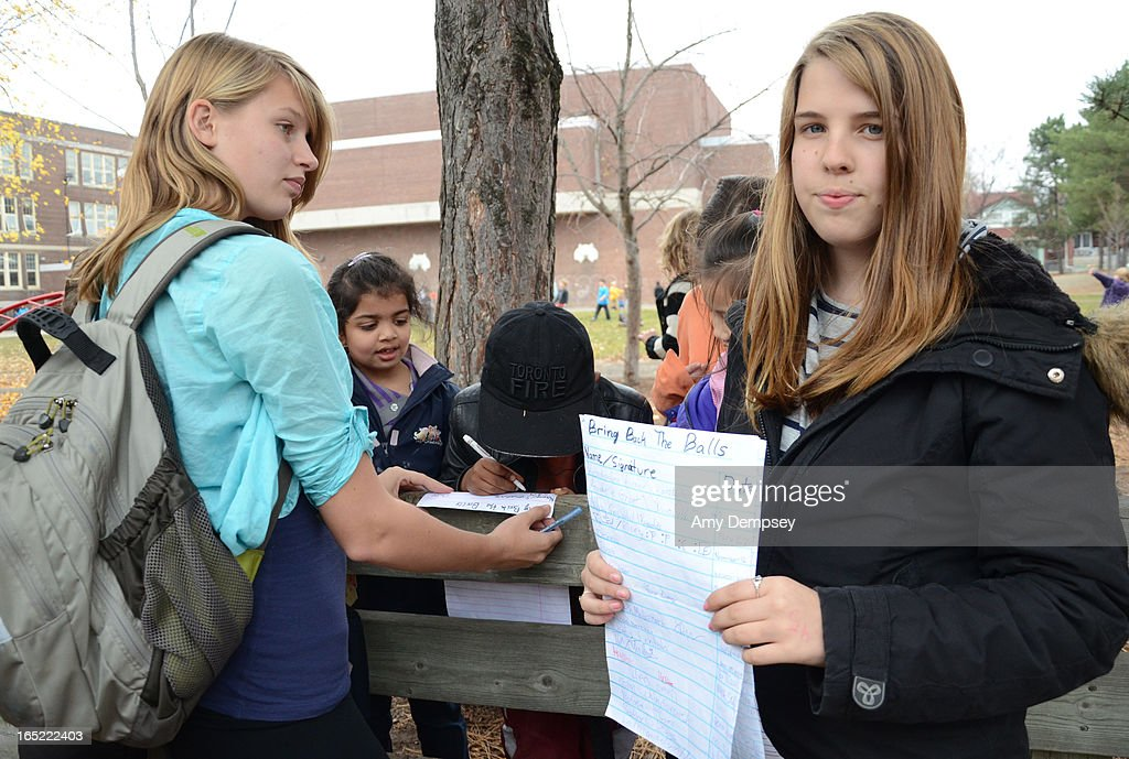 Earl Beatty Public School students Annabelle Grant and Konstantina Alexiou started a petition to reverse the ball ban at their school November162011...