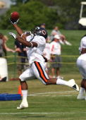 Earl Bennett of the Chicago Bears makes a onehanded catch during a training camp practice at Olivet Nazarene University August 4 2009 in Bourbonnais...