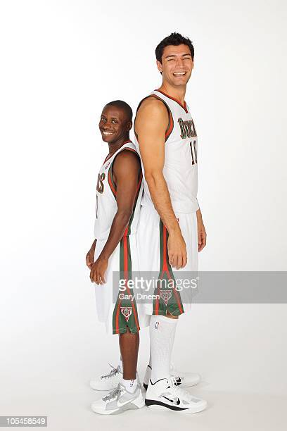 Earl Boykins and Carlos Delfino of the Milwaukee Bucks pose for a portrait during 2010 NBA Media Day on September 27 2010 at the Milwaukee Bucks...