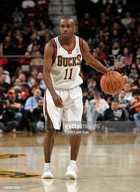 Earl Boykins of the Milwaukee Bucks handles the ball during a game against the Cleveland Cavaliers at The Quicken Loans Arena on January 21 2011 in...