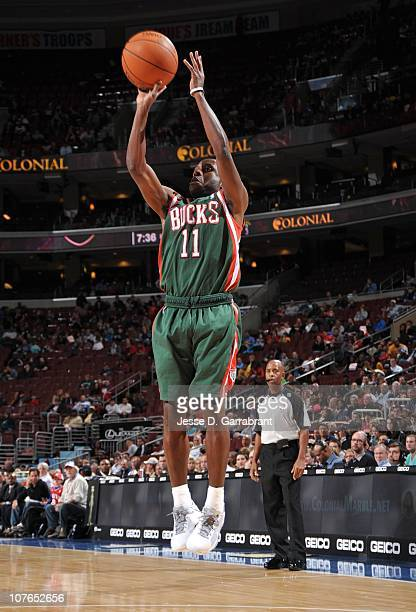 Earl Boykins of the Milwaukee Bucks shoots a jump shot during a game against the Philadelphia 76ers on November 19 2010 at the Wells Fargo Center in...