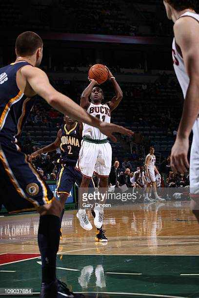 Earl Boykins of the Milwaukee Bucks shoots against the Indiana Pacers during the NBA game on February 12 2011 at the Bradley Center in Milwaukee...