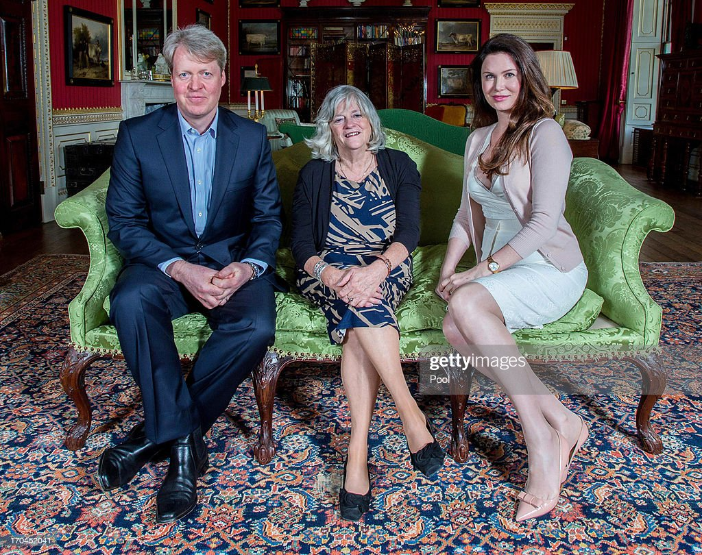 Earl Charles Spencer, Ann Widdecombe and Countess Karen Spencer pose on the opening day of the Althorp Literary Festival on June 13, 2013 in Althorp, United Kingdom.
