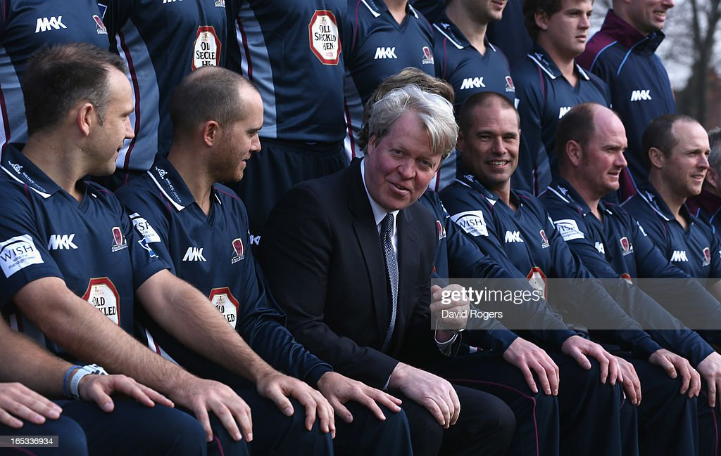 Earl Charles Spencer, the patron of Northamptonshire County Cricket Club takes his seat in the squad photograph during the annual photocall held at the County Ground on April 3, 2013 in Northampton, England.