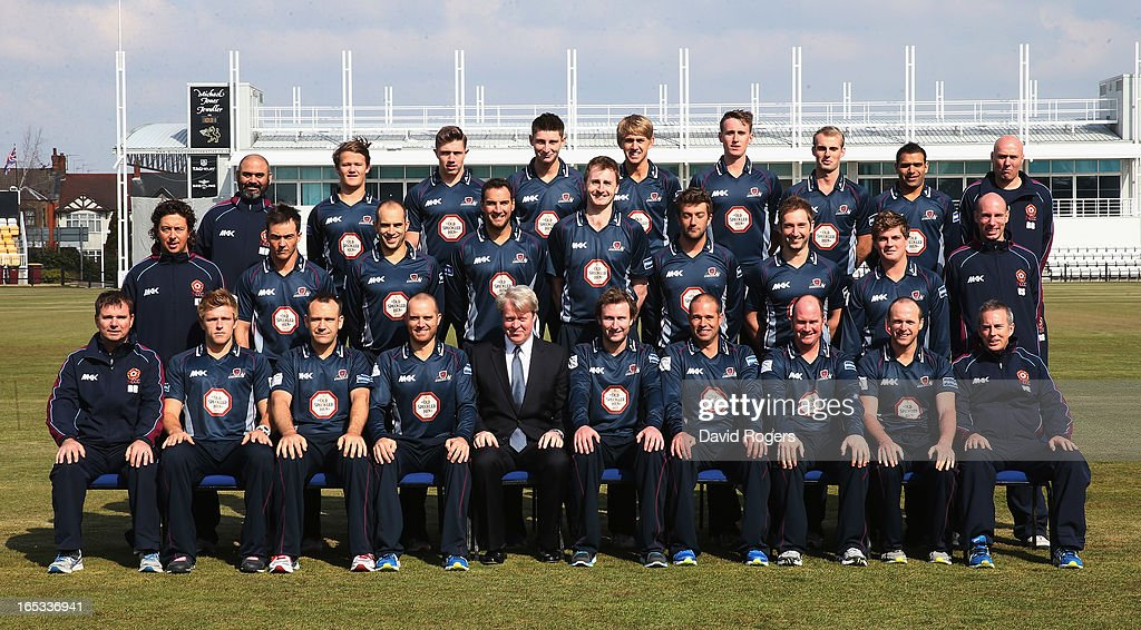 Earl Charles Spencer, the patron of Northamptonshire County Cricket Club, takes his seat in the squad photograph during the annual photocall held at the County Ground on April 3, 2013 in Northampton, England.