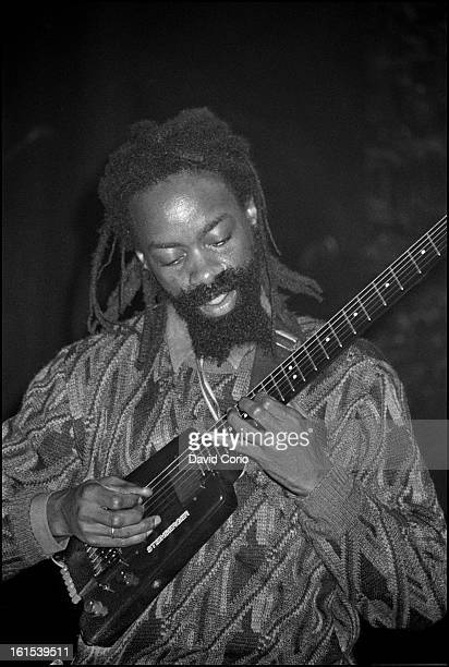 Earl 'Chinna' Smith performs on stage at The Astoria Theatre London supporting Augustus Pablo on 22th November 1987 He plays a Steinberger headless...