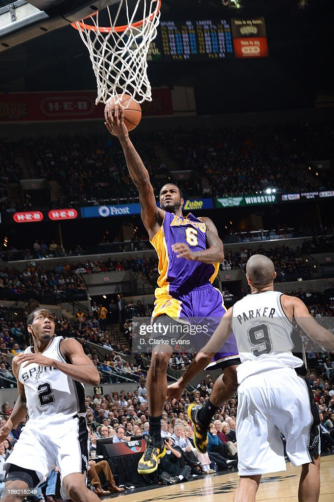Earl Clark #6 of the Los Angeles Lakers goes to the basket during the game between the Los Angeles Lakers and the San Antonio Spurs on January 9, 2013 at the AT&T Center in San Antonio, Texas.