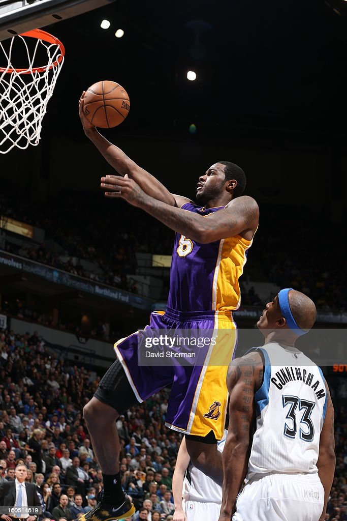 Earl Clark #6 of the Los Angeles Lakers goes up for the easy bucket against the Minnesota Timberwolves during the game on February 1, 2013 at Target Center in Minneapolis, Minnesota.