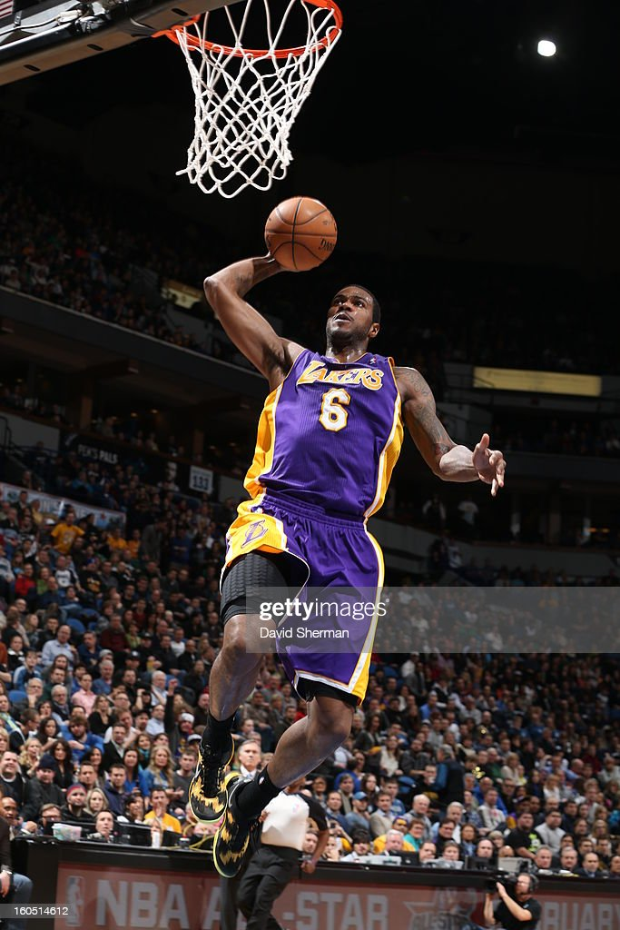 Earl Clark #6 of the Los Angeles Lakers goes up for the slamdunk against the Minnesota Timberwolves during the game on February 1, 2013 at Target Center in Minneapolis, Minnesota.