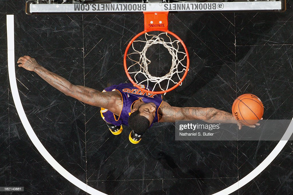 Earl Clark #6 of the Los Angeles Lakers grabs a rebound against the Brooklyn Nets on February 5, 2013 at the Barclays Center in the Brooklyn borough of New York City.