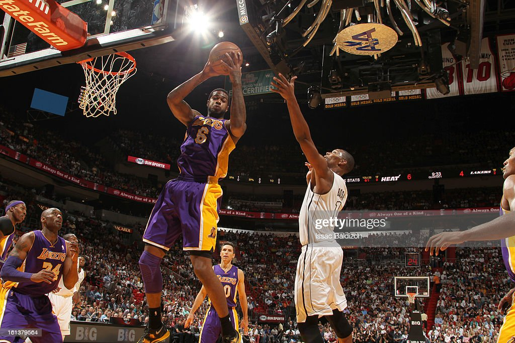 Earl Clark #6 of the Los Angeles Lakers grabs a rebound during a game between the Los Angeles Lakers and the Miami Heat on February 10, 2013 at American Airlines Arena in Miami, Florida.